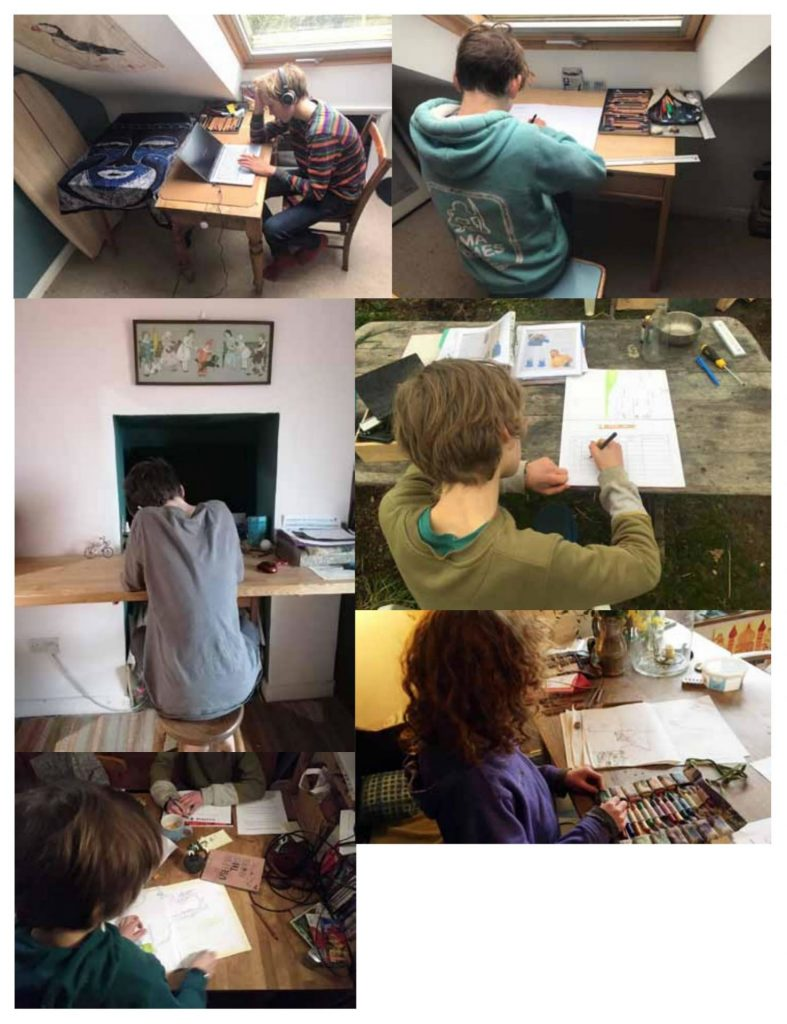 Students working from home